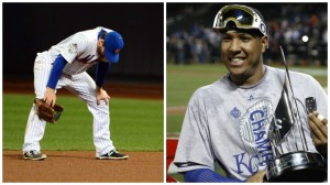 Mets star David Wright looks disappointed as he stands on the field during Game 5. (Left). Royals catcher Salvador Perez celebrates with his World Series MVP trophy. (Right). Image created by Mike Cipolla