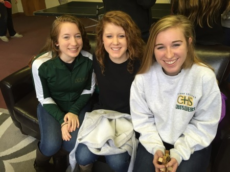Peer leaders Delaney , Mackenzie , and Katrina  on the sophomore retreat. Photo courtesy of BSCHS